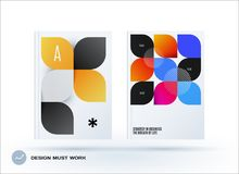 Set of design brochure, abstract annual report. Horizontal cover layout, flyer in A4 with vector colourful rounded shape for promotion, advertisement. Business Royalty Free Stock Photos