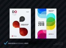 Set of design brochure, abstract annual report. Horizontal cover layout, flyer in A4 with vector colourful rounded shape for promotion, advertisement. Business vector illustration