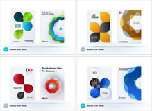 Set of design brochure, abstract annual report. Horizontal cover layout, flyer in A4 with vector colourful rounded shape for promotion, advertisement. Business Royalty Free Stock Photo