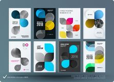 Set of design brochure, abstract annual report. Horizontal cover layout, flyer in A4 with vector colourful rounded shape for promotion, advertisement. Business Royalty Free Stock Photography