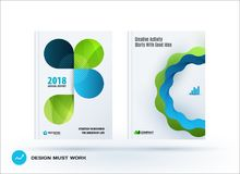 Set of design brochure, abstract annual report. Horizontal cover layout, flyer in A4 with vector green turquoise rounded shape for promotion, advertisement stock illustration