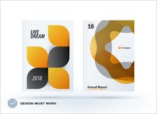 Set of design brochure, abstract annual report. Horizontal cover layout, flyer in A4 with vector yellow grey rounded shape for promotion, advertisement royalty free illustration