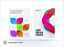 Set of design brochure, abstract annual report. Horizontal cover layout, flyer in A4 with vector colourful rounded shape for promotion, advertisement. Business Stock Image