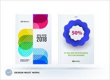 Set of design brochure, abstract annual report. Horizontal cover layout, flyer in A4 with vector colourful rounded shape for promotion, advertisement. Business royalty free illustration