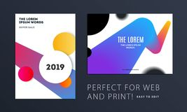 Set of Design of brochure soft template cover. Colourful modern abstract, annual report with shapes for branding. Set of Design of brochure smooth soft template royalty free illustration