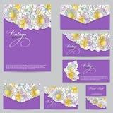 Set design for business cards, envelopes, postcards. floral back Royalty Free Stock Image