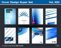 Set of design of business vector template, brochure, abstract annual report, cover. Flyer in A4 with olourful round, soft, triangular shapes, abstract lines Stock Images