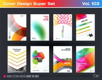 Set of design of business vector template, brochure, abstract annual report, cover. Flyer in A4 with olourful round, soft, triangular shapes, abstract lines Stock Photo