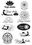 Set of design concepts for yoga studio Stock Photography