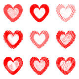 Set of design drawn heart icons for Valentines Day Royalty Free Stock Image