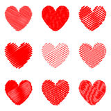 Set of design drawn heart icons for Valentines Day Royalty Free Stock Photo