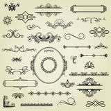 Set of design elements. Hand drawn design elements in retro style Stock Photography