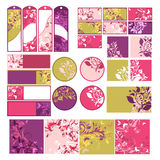 Set of design elements. Set of multicolored design elements with floral decoration Stock Photos