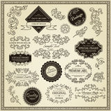 Set of design elements. Labels, borders, frames, etc. Could be used for page decoration, certificate, etc Stock Photography