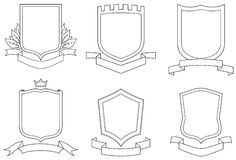 Set of  design elements. Vector emblems, crests, shields and scrolls Royalty Free Stock Photo