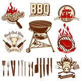Set of design elements for bbq and grill labels. Set of kitchen Royalty Free Stock Photo