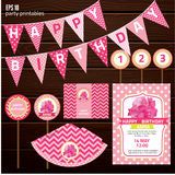 Set of design elements for birthday party, Royalty Free Stock Image
