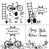 Set of design elements and cards with flowers, garden tools and Stock Photos