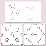 Set of design elements of cat theme: two seamless patterns  Stock Images
