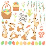 Set of design elements and characters for Happy Easter. Cute Easter bunnies, painted eggs, willow branches, cakes, pie Stock Photography