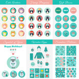 Set of design elements for Christmas and New Year in flat style. Big set of Christmas and New Year flat vector design elements and icons. Avatars, penguins, gift stock illustration