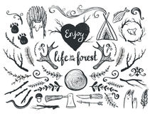 Set of design elements and clip art themed around animals ,camping and life in the forest. Vector illustration Stock Photo