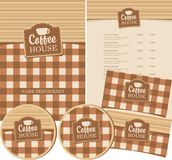 Set of design elements for coffee house with cup Stock Image