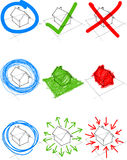 Set of design elements. Collection of nine design elements: hand drawn sketches over a deteched house Stock Image