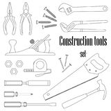 A set of design elements for construction. Fourteen types of construction tools Stock Photos