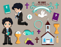 Set of design elements for First Communion for boys. Stock Images