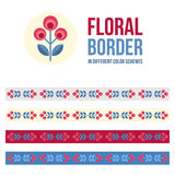 Set of design elements - floral borders Royalty Free Stock Photo