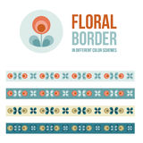 Set of design elements - floral borders Stock Photo