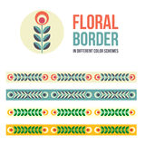 Set of design elements - floral borders Stock Photos
