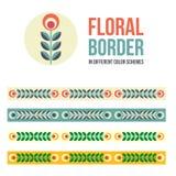 Set of design elements - floral borders Stock Photos