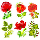 Set of design elements. Set of hand drawn illustrations in Ukrainian national style Stock Photo