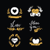 Set of design elements with hearts, ribbins and florals Stock Image