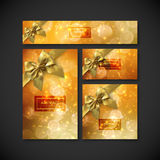 Set of design elements for holiday package design. Festive gift cards, flyers and banners design template. Set of stationery elements for holiday package design Stock Photo