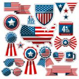 Set of decorative elements with the American flag Stock Photography