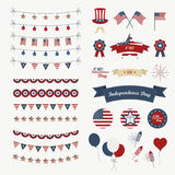 A set of design elements for Independence Day. 4th of July Objects, Element. Isolated on white. Vector icons. Royalty Free Stock Photography