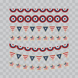 A set of design elements for Independence Day. 4th of July Objects, Element. Vector illustration. Isolated on transparent checkered Stock Images