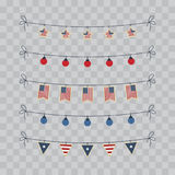 A set of design elements for Independence Day. 4th of July Objects, Element. Vector illustration isolated on transparent checkered Royalty Free Stock Images