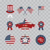 A set of design elements for Independence Day. 4th of July Objects, Element. Vector illustration isolated on transparent checkered Stock Photo