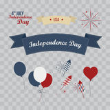 A set of design elements for Independence Day. 4th of July Objects, Element. Vector illustration isolated on transparent checkered Royalty Free Stock Photography