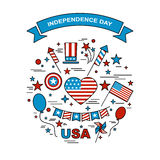 A set of design elements for Independence Day. Vector icons for 4ht of July. Festive set to work. A symbol of freedom and independence. Set of American flag Royalty Free Stock Images