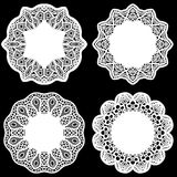 Set of design elements, lace round paper doily, doily to decorate the cake,  festive doily,  doily - a template for cutting Royalty Free Stock Image
