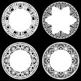 Set of design elements, lace round paper doily, doily to decorate the cake,  festive doily,  doily - a template for cutting, Stock Photos