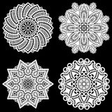 Set of design elements, lace round paper doily, doily to decorate the cake,  festive doily,  doily - a template for cutting. Lacy snowflake, greeting element Royalty Free Stock Photo