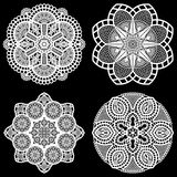 Set of design elements, lace round paper doily, doily to decorate the cake,  festive doily,  doily - a template for cutting  Stock Images