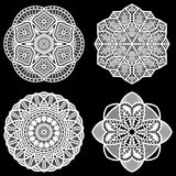 Set of design elements, lace round paper doily, doily to decorate the cake,  festive doily. Doily - a template for cutting, lacy snowflake, greeting element Stock Images