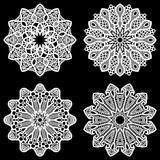 Set of design elements, lace round paper doily, doily to decorate the cake. Festive doily,  doily - a template for cutting, lacy snowflake, greeting element Stock Image